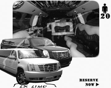Cadillac Escalade 20 passenger SUV Limousine for rental in Lxlimo